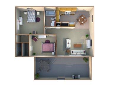 Monterey Pines Apartment Homes 2 Bedroom - 1 Bath Fresno 0