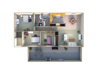 Monterey Pines Apartment Homes 3 Bedroom - 2 Bath Fresno 0