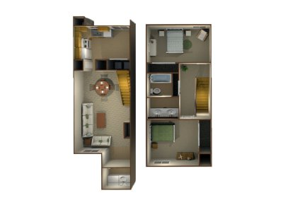 Willow Park Apartments 2 Bedroom Townhome - Plan B Fresno 0