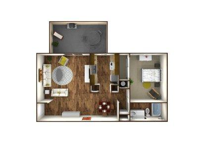 Park West Apartment Homes 1 Bedroom Plan A Fresno 0