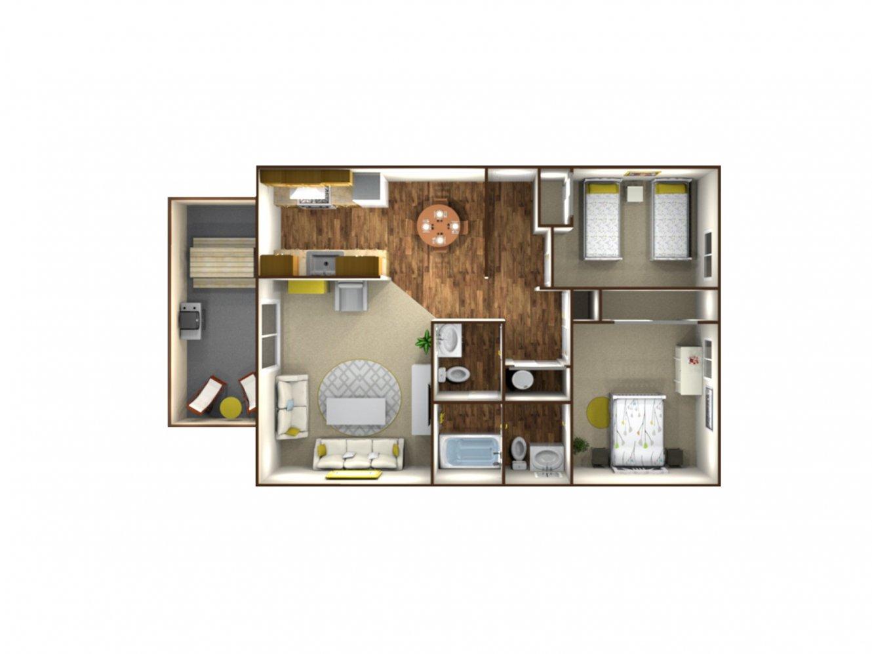 Park West Apartment Homes 2 Bedroom Plan B Fresno 0