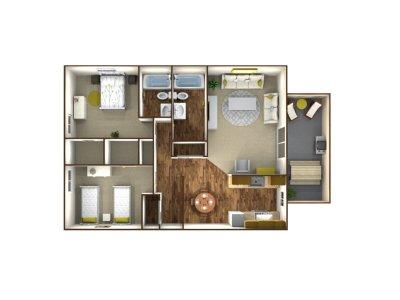 Park West Apartment Homes 2 Bedroom 2 Bath Plan C Fresno 0