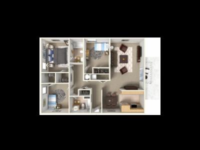 Park West Apartment Homes 3 Bedroom Plan E Fresno 0