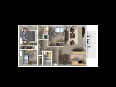 Park West Apartment Homes 3 Bedroom Plan D Fresno 0