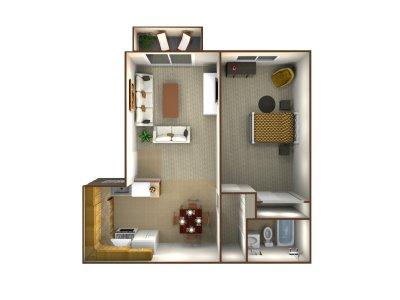 Northridge Apartments 1 Bedroom - Plan A Bakersfield 0